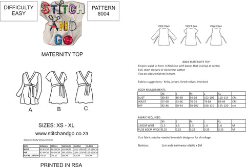 8004 Maternity Top Pattern (Standard Printed Version)