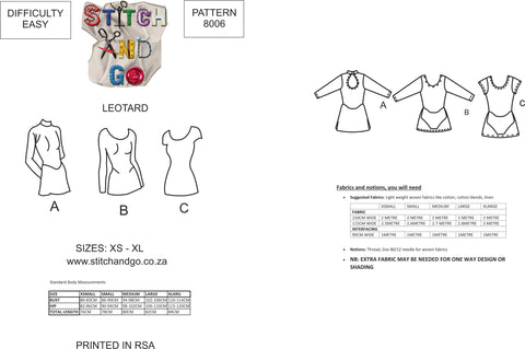 8006 Leotard Pattern (Standard Printed version)