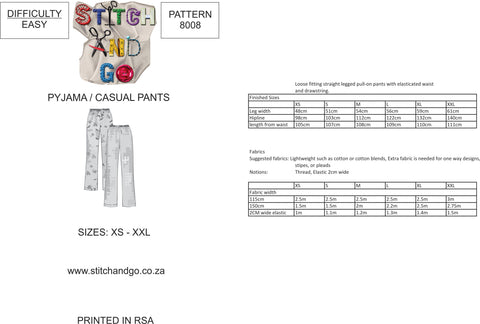 8008 Ladies Pyjama/Casual Pants (Standard Printed Version)