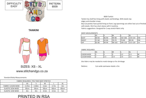 8009 Tankini Pattern (Standard Printed Version)