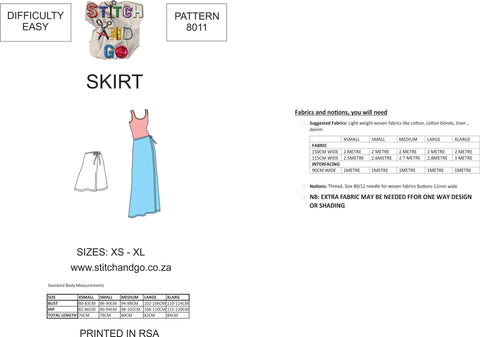 8011 Wrap Skirt Pattern (Standard Printed Version)
