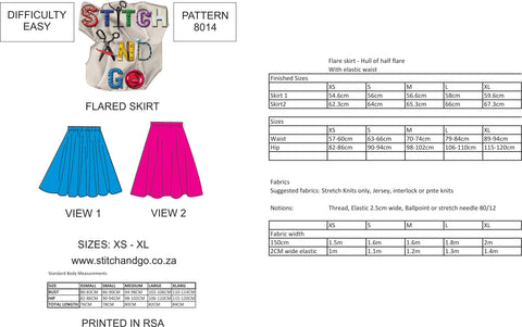 8014 Flared Skirt (Standard Printed Version)