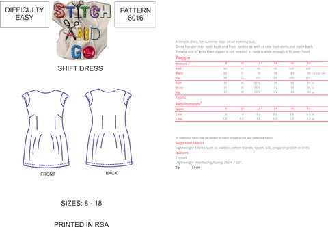 8016 Easy Shift Dress Pattern (Standard Printed Version)