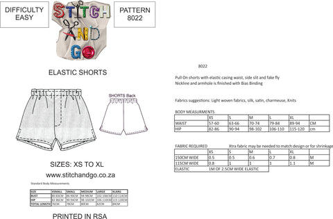 8022  Pull on shorts with Fake Fly Zip and side hem slit detail (Standard Printed version)