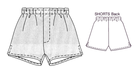 8022  Pull on shorts with Fake Fly Zip and side hem slit detail ( Standard Printed version)