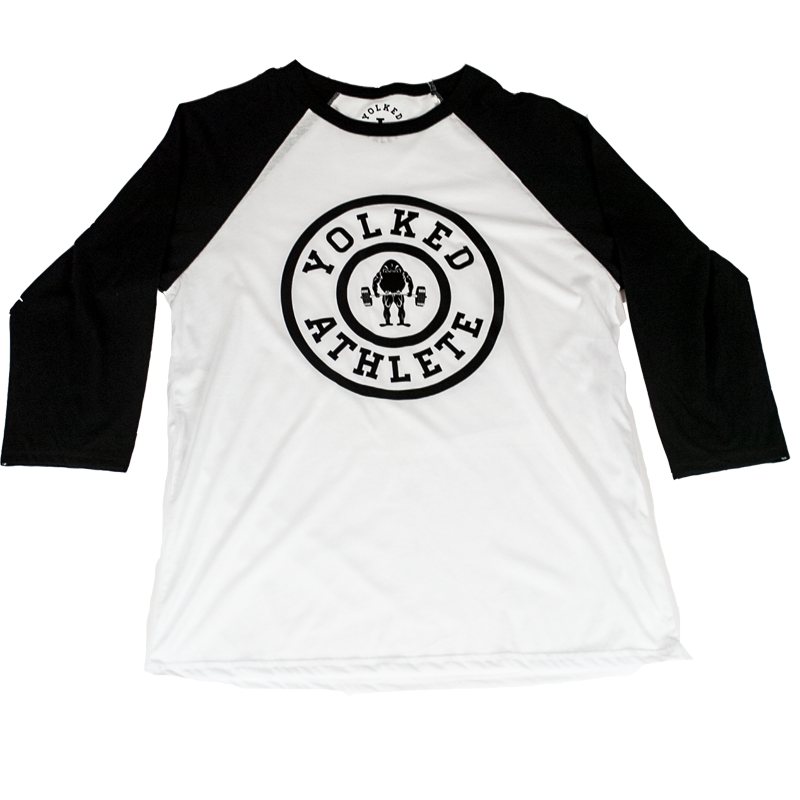 c1938820d6 Yolked Athlete Classic Raglan T-Shirt 3 4 sleeve - White (3 Sleeve Col