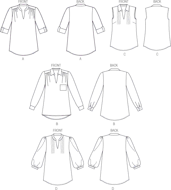 Butterick Pattern B6801 Misses and Womens Tucked Or Gathered Top 6801 Line Art From Patternsandplains.com