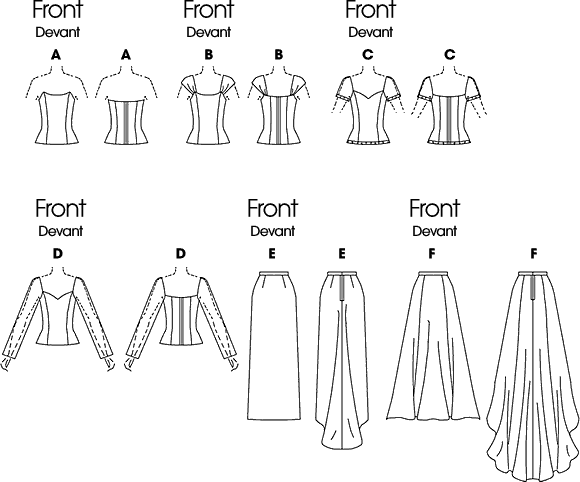 Butterick Pattern B6803 Misses Formal Tops and Skirts With Train 6803 Line Art From Patternsandplains.com