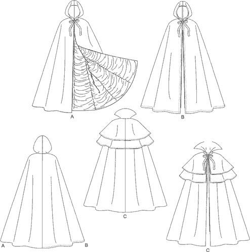 McCall's Pattern M4139 Misses Mens Teen Boys Lined and Unlined Cape Costumes 4139 Line Art From Patternsandplains.com