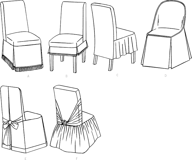 McCall's Pattern M4404 Chair Cover Essentials 4404 Line Art From Patternsandplains.com