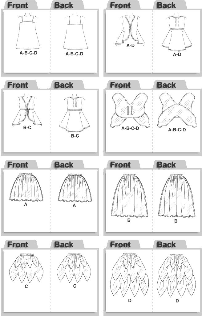 McCall's Pattern M4887 Childrens Girls Fairy Costumes 4887 Line Art From Patternsandplains.com