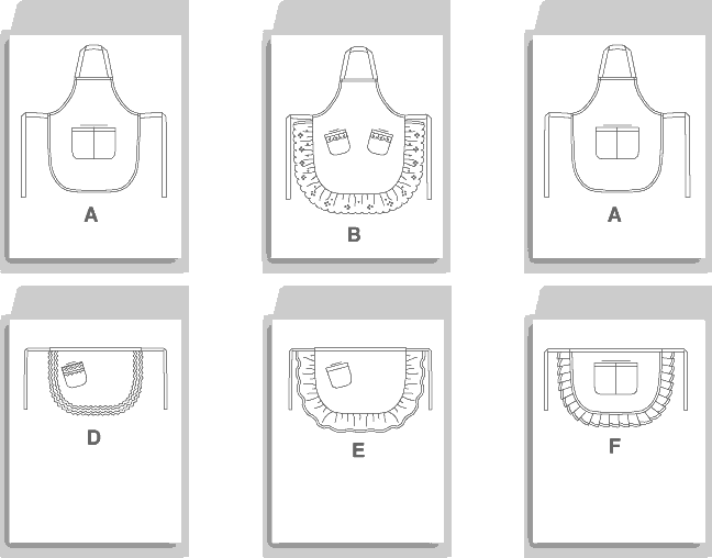 McCall's Pattern M5284 Aprons 5284 Line Art From Patternsandplains.com