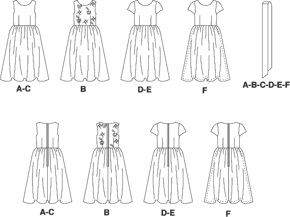 McCall's Pattern M5795 Childrens Girls Lined Dresses and Sash 5795 Line Art From Patternsandplains.com