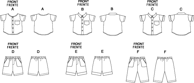 McCall's Pattern M6016 Infants Shirts Shorts And Pants 6016 Line Art From Patternsandplains.com