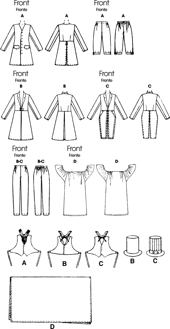McCall's Pattern M6143 Adults Boys Girls Costumes 6143 Line Art From Patternsandplains.com