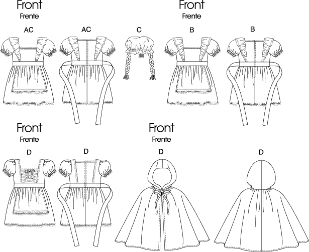 McCall's Pattern M6187 Misses Childrens Girls Storybook Costumes 6187 Line Art From Patternsandplains.com