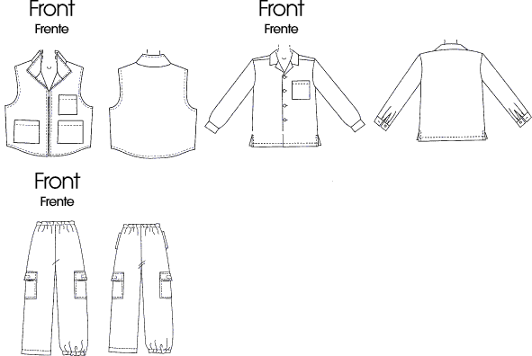 McCall's Pattern M6222 Childrens Boys Shirt Vest and Pull On Pants 6222 Line Art From Patternsandplains.com