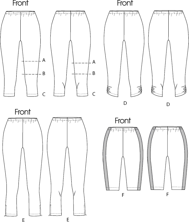 McCall's Pattern M6360 Misses Womens Leggings In 4 Lengths 6360 Line Art From Patternsandplains.com