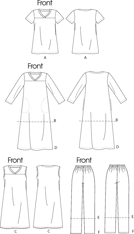 McCall's Pattern M6474 Misses Womens Top Tunic Gowns and Pants 6474 Line Art From Patternsandplains.com
