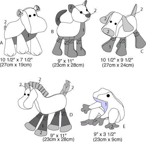 McCall's Pattern M6485 Stuffed Animals 6485 Line Art From Patternsandplains.com