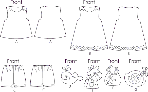McCall's Pattern M6541 Infants Top Dress Shorts and Appliqu and eacute;s 6541 Line Art From Patternsandplains.com