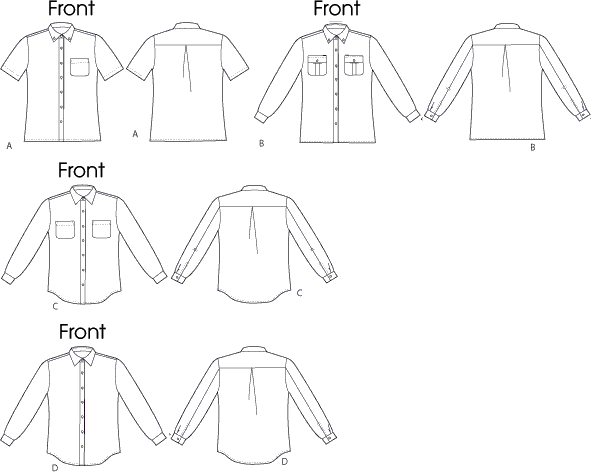 McCall's Pattern M6613 Misses Mens Shirts 6613 Line Art From Patternsandplains.com