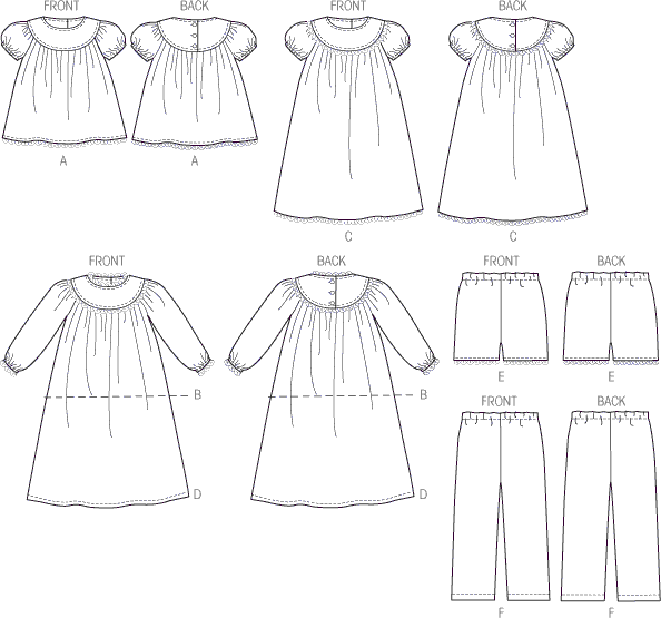 McCall's Pattern M6831 Childrens Girls Tops Gowns Short and Pants 6831 Line Art From Patternsandplains.com