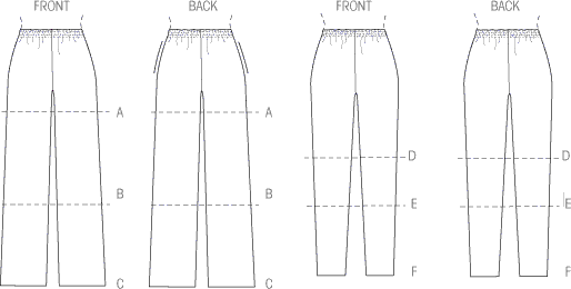 McCall's Pattern M6843 Misses Shorts and Pants 6843 Line Art From Patternsandplains.com