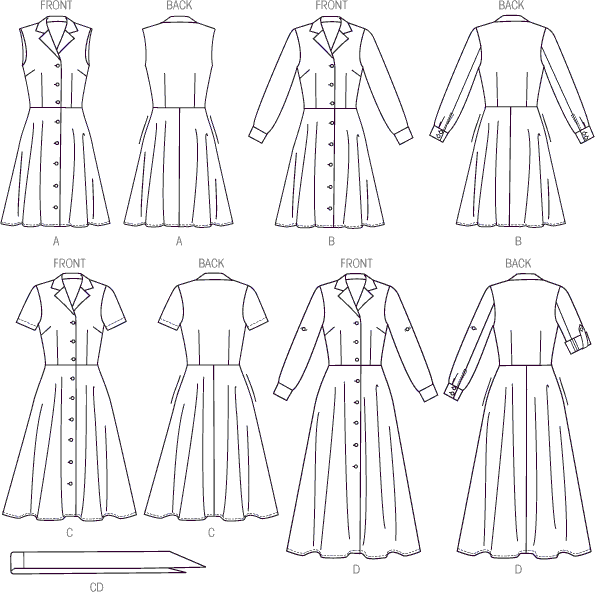 McCall's Pattern M6891 Misses Dresses and Sash 6891 Line Art From Patternsandplains.com