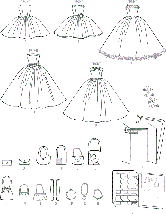 McCall's Pattern M6903 Clothes and Accessories For 11and a half (29cm) Doll Display Boxes and Hangers 6903 Line Art From Patternsandplains.com
