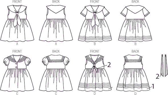 McCall's Pattern M6913 Toddlers Dresses and Tie Ends 6913 Line Art From Patternsandplains.com