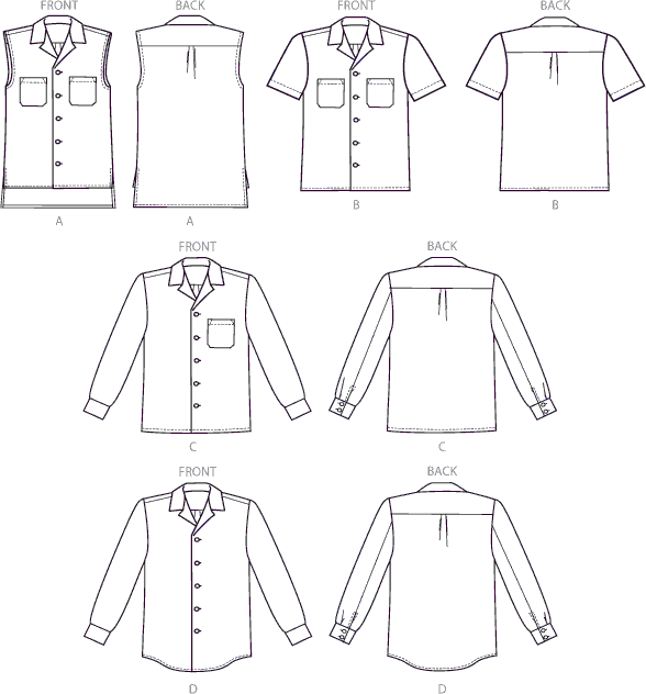 McCall's Pattern M6932 Misses Mens Shirts 6932 Line Art From Patternsandplains.com