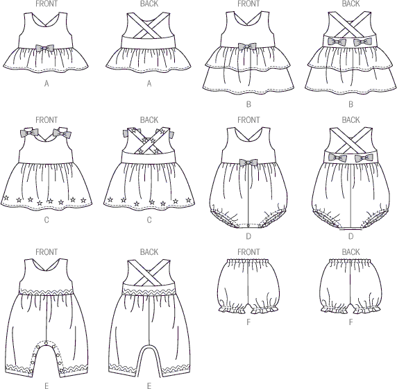 McCall's Pattern M6944 Toddlers Top Dresses Rompers and Panties 6944 Line Art From Patternsandplains.com