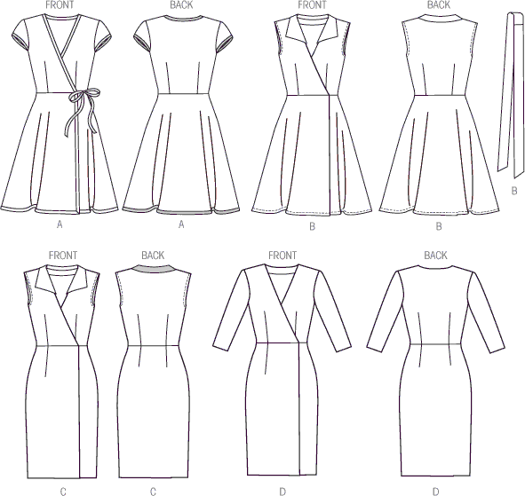 McCall's Pattern M6959 Misses Dresses and Belt 6959 Line Art From Patternsandplains.com