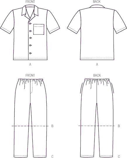 McCall's Pattern M6972 Mens Boys Shirt Shorts and Pants 6972 Line Art From Patternsandplains.com
