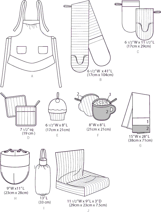 McCall's Pattern M6978 Apron and Kitchen Accessories 6978 Line Art From Patternsandplains.com