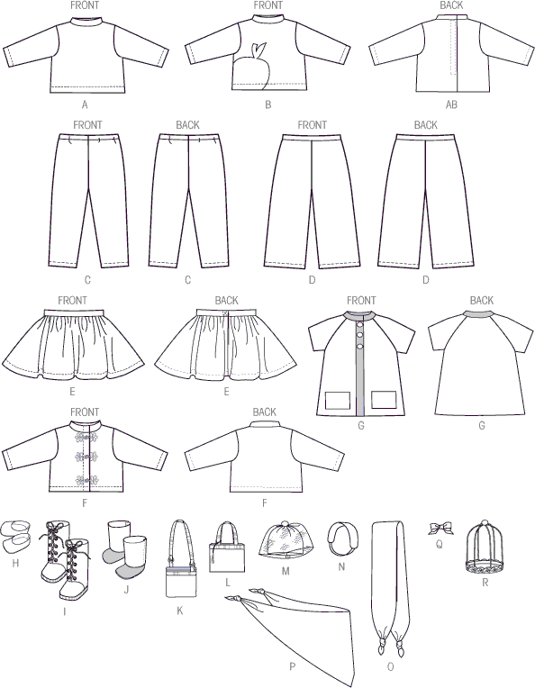 McCall's Pattern M7006 Clothes For 18 Doll 7006 Line Art From Patternsandplains.com