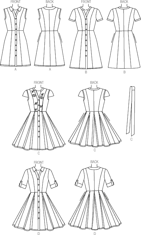 McCall's Pattern M7084 Misses Dresses and Belt 7084 Line Art From Patternsandplains.com