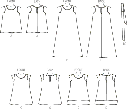 McCall's Pattern M7111 Childrens Girls Dresses and Belt 7111 Line Art From Patternsandplains.com