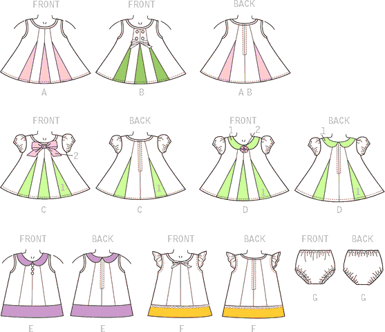 McCall's Pattern M7177 Infants Dresses and Panties 7177 Line Art From Patternsandplains.com