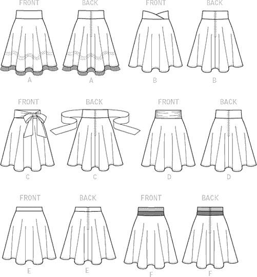 McCall's Pattern M7197 Misses Skirts 7197 Line Art From Patternsandplains.com