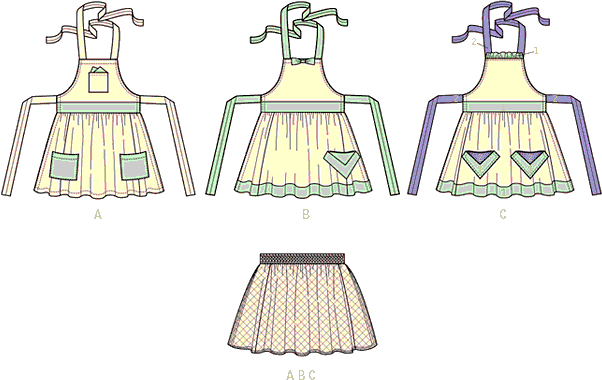 McCall's Pattern M7208 Misses Aprons and Petticoat 7208 Line Art From Patternsandplains.com