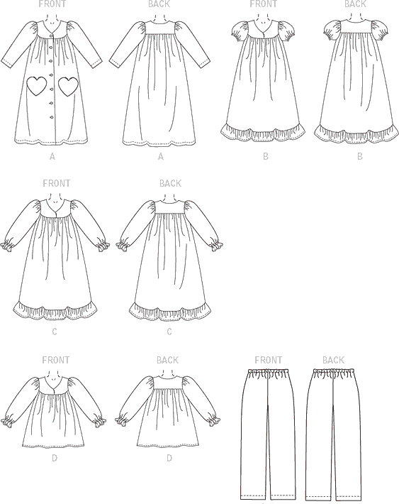 McCall's Pattern M7221 Childrens Girls Robe Gowns Top and Pants 7221 Line Art From Patternsandplains.com