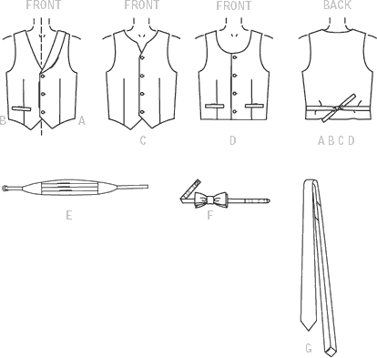 McCall's Pattern M7223 Childrens Boys Lined Vests Cummerbund Bow Tie and Necktie 7223 Line Art From Patternsandplains.com