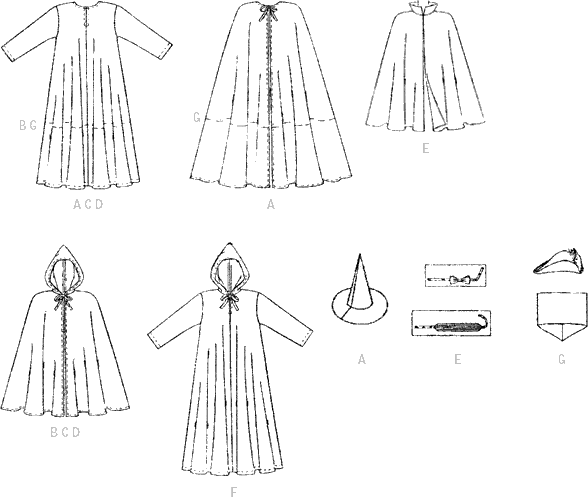 McCall's Pattern M7224 Childrens Boys and Girls Cape and Tunic Costumes 7224 Line Art From Patternsandplains.com
