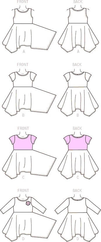 McCall's Pattern M7309 Childrens Girls Handkerchief Hem Dresses 7309 Line Art From Patternsandplains.com
