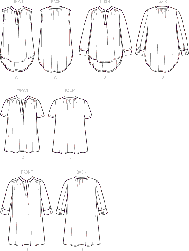 McCall's Pattern M7324 Misses Half Placket Tops and Tunic 7324 Line Art From Patternsandplains.com