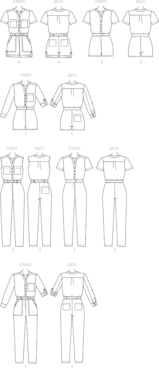 McCall's Pattern M7330 Misses Button Up Rompers and Jumpsuits 7330 Line Art From Patternsandplains.com