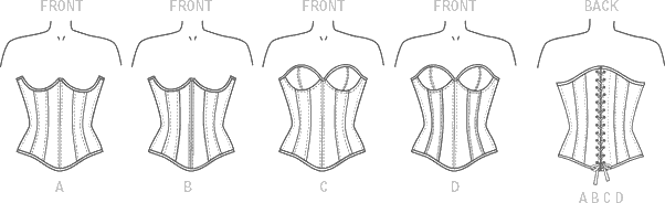 McCall's Pattern M7339 Misses Overbust or Underbust Corsets by Yaya Han 7339 Line Art From Patternsandplains.com