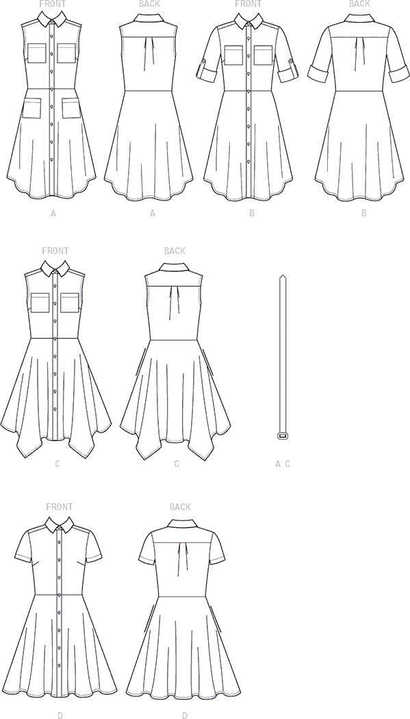 McCall's Pattern M7351 Misses Shirtdresses with Pockets and Belt 7351 Line Art From Patternsandplains.com